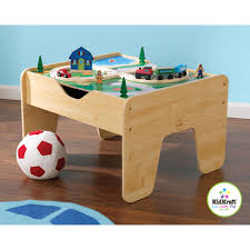 kidkraft 2 in 1 activity table with building blocks and train sets