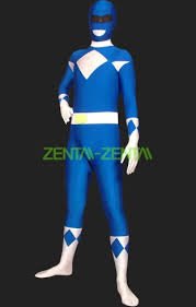 power rangers mighty morphin blue white lycra body zentai