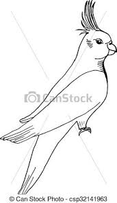 clip art vector of hand draw parrot sketch style on a black white
