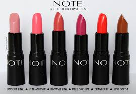 pink color shades review note cosmetics ultra rich color lipstick