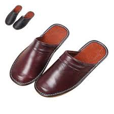 mens leather bedroom slippers men s winter warm leather house slippers fleece lined indoor home