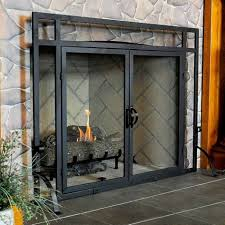 modern fireplace glass doors awesome gray stone fireplace with