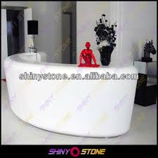 Gloss White Reception Desk High Gloss Circular White Artificial Stone Solid Surface Salon