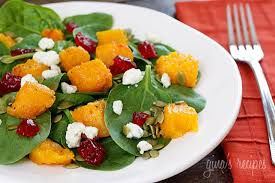 baby spinach salad with honey roasted butternut squash pumpkin