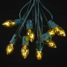 yellow transparent c7 outdoor string light set on green wire