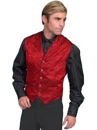 scully men u0027s old west vest wahmaker fancy silk classic red s 2xl
