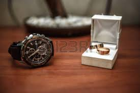wedding ring in a box wedding ring in a box and the groom on the table stock photo