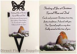 special mum and dad christmas robin memorial card graveside