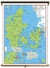 denmark physical educational wall map from academia maps