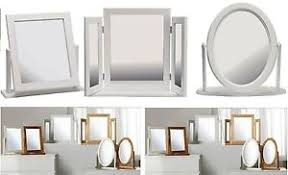 folding dressing table mirror square oval triple fold dressing table mirror white wooden frame