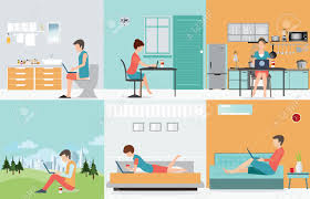 Interior Design Work From Home by Freelance Set With Various Cartoon Character Design Working At
