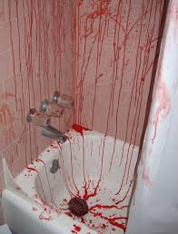Blood Shower Curtain Halloween Came Early This Year Justinsomnia Blood Bath Bathroom