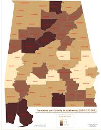 Counties In Alabama By Size Tornados Per County In Alabama 1950 2003 Digital