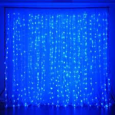 600 sequential blue led lights organza curtain backdrop 20ft x