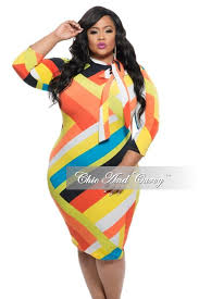 new plus size long sleeve bodycon dress w neck tie in color block