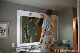Remove Mirror Glued To Wall Remodelaholic Framing A Large Bathroom Mirror