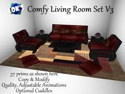 Burgundy Living Room Set by Second Life Marketplace Lok U0027s Comfy Living Room Set V3 With