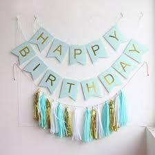 birthday decorations blue pink happy birthday banner set paper tassel flags baby shower