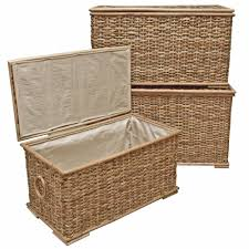 rustic rattan trunk lined storage chest wicker laundry basket