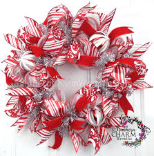 Deco Mesh Halloween Wreath Ideas by Deco Mesh Christmas Wreath Slim Screen Door Or Wall Red White