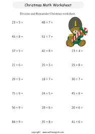 printable christmas math division activity for grade 3 students