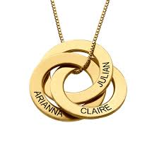 engraving necklaces engraved russian ring necklace in gold plating forevermom