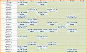 Staffing Schedule Template Excel 6 Weekly Staff Schedule Template Excel Budget Template Letter