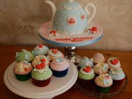 cath kidston style teapot cake and matching cupcakes for a ladies