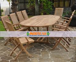 teak oval extension table and folding arm chair sets u2013 garden