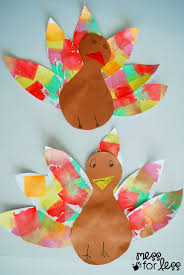 thanksgiving crafts children tissue paper turkey craft mess for less