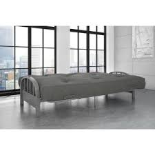 dhp aiden full size futon frame in silver 3273408 the home depot