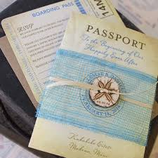 vintage sand dollar passport wedding invitation makena maui