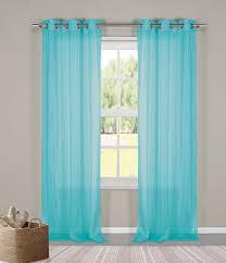 two 2 sheer grommet window curtain panels turquoise metallic