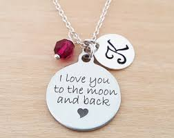 I Love You To The Moon And Back Personalized Necklace I Love You To The Moon And Back Necklace Heart Necklacemoon