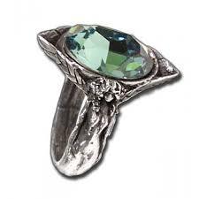 Swarovski Home Decor Green Swarovski Crystal Large Pewter Ring Gothic Jewelry