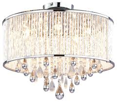 flush mount drum chandelier with crystal 4 light white shade