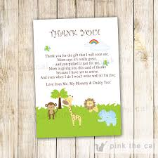 jungle thank you card jungle thank you note jungle baby