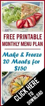 plan it cuisine free printable monthly menu plan freeze 20 meals for less