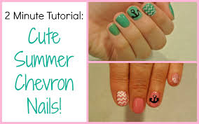 two minute tutorial cute summer chevron nails youtube
