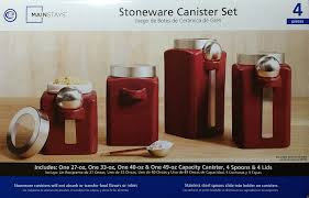 Stainless Steel Canister Sets Kitchen Amazon Com Mainstays Red Stonewear Kitchen Canister Set 4pc
