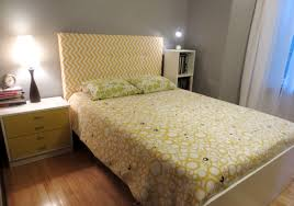 bedroom interesting padded headboard for bedroom decoration ideas yellow chevron padded headboard plus wooden floor and grey wall for bedroom decoration ideas