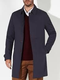 john lewis bonded cotton mac in blue for men lyst