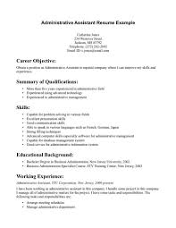 Career Overview Resume Examples by Career Summary For Administrative Assistant Resume Resume For