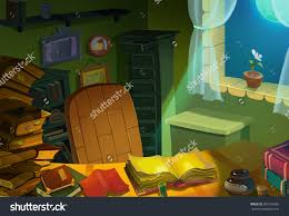 illustration library room at night realistic cartoon style