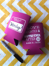 personalized koozies for wedding hot pink personalized koozie favor ideas