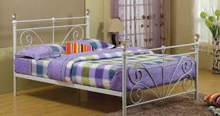 white double metal bed frame with crystalfinials