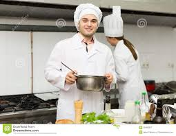 Professional Kitchen Head Cooks Cooking At Professional Kitchen Stock Photo Image