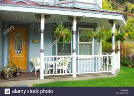 veranda to a victorian home in telluride colorado usa stock photo
