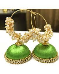 thread earrings pair of golden thread earrings