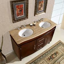 58 inch double sink vanity with a baltic brown top and undermount
